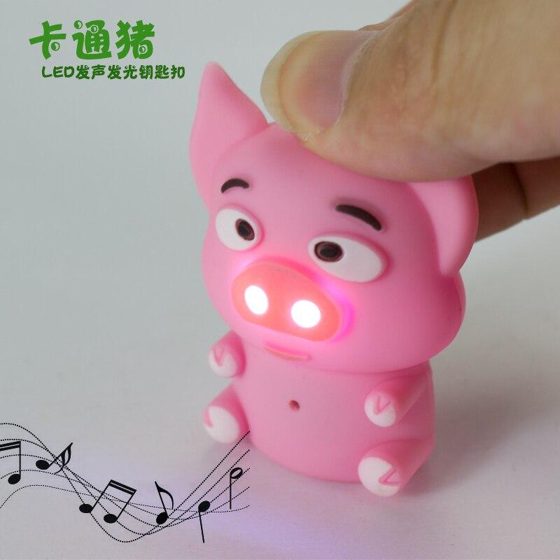 Cartoon Mini Pig LED Keychain with Sound Flashlight Kid toys Children gift Animal pig Keyring Led Keychain