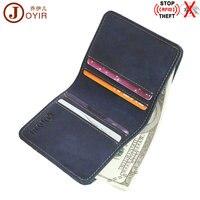 JOYIR RFID Crazy Horse Genuine Leather Men Wallet Short Card Holder Leisure Simple Male Wallet Purse