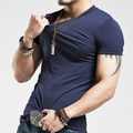 Men Cotton V-neck t shirt Solid Color S-XXL
