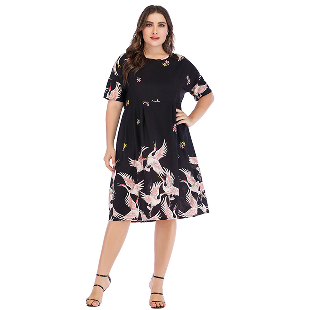 US $13.49 50% OFF Wipalo Women Plus Size Red Crowned Crane Print Short  Sleeve Dress O Neck Knee Length A Line Casual Dress Spring Summer  Vestidos-in ...