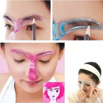 1Pcs 3D Eyebrow Shaper Stencil Shaping Handheld Brow Definition Novice Beauty Makeup Tool For Girls Pink Color