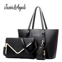 Jiessie Angela Fashion Women Bag Set Luxuy Brand Composite Female PU Casual Big Tote Design Messenger