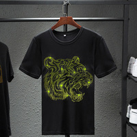 New Tiger Head diamond T shirt Black White cotton short sleeved T shirt men s high quality rhinestone shirt European size