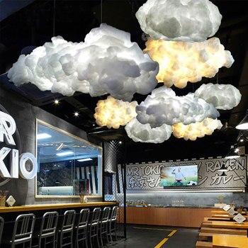 โมเดิร์นสร้างสรรค์โรแมนติกสีขาวเมฆจี้ไฟ Led Lightning ผลโคมไฟสีขาวลอยผ้าฝ้าย Cloud แขวน