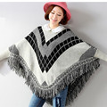 2016 New Winter Women Poncho Sweaters and Pullovers Knitted Cardigan Loose Womens Tassels Fashion Female Bat Cloak One Size