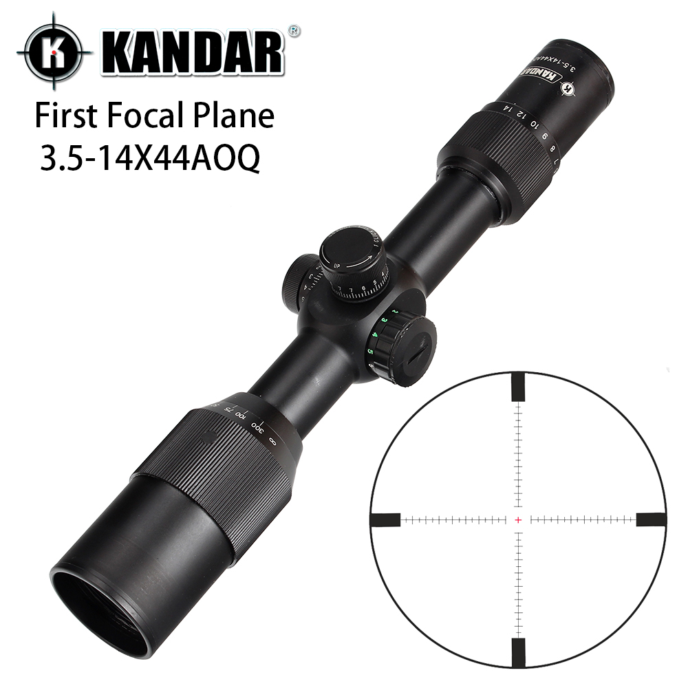 KANDAR 3.5-14X44 AOQ First Focal Plane Hunting Riflescopes Red Green Illuminated P4 Glass Etched Reticle Turrets Lock Scope