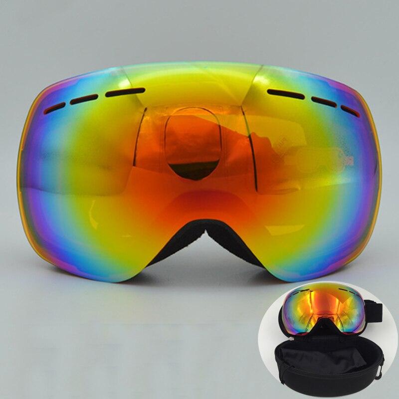 Prix pour OBAOLAY marque ski lunettes double couches UV400 anti-brouillard grand masque de ski lunettes de ski hommes femmes neige snowboard patinage lunettes