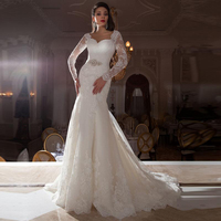 2017 Women Elegant Sweetheart Mermaid Wedding Dress Long Sleeve Applique Crystal Bridal Gown with Court Train Vestidos de Noiva