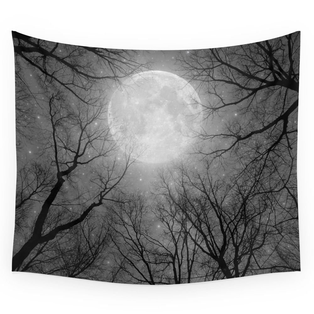 May It Be A Light (Dark Forest Moon) Wall Tapestry Hanging Tapestry For Wall Decoration Fashion