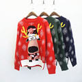 New Christmas Sweater with Deer Women Autumn Winter Female Cartoon Snowflake Print Knitted Pullovers Jumper Sweaters pull femme