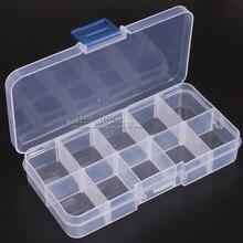 1Pcs It can be split transparent plastic component box 10 grid storage box Chip / SMD parts / IC / Accessories / screw box