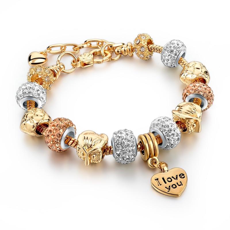 Mode Cinta Wanita Gelang Untuk Wanita Emas SBR160040 2019 Owl Jantung Charm Gelang Bangles Kristal Perhiasan Perempuan