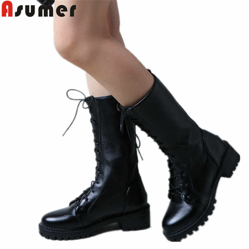 ASUMER büyük boy 34-43 moda orta buzağı çizmeler yuvarlak ayak lace up orta buzağı çizmeler med topuklu bayan klasik bayanlar balo botları 2020