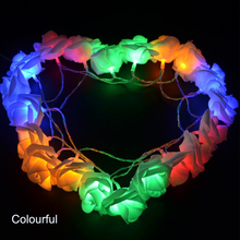 Portable Rose Flower Shaped Battery Operated 20 LEDs String