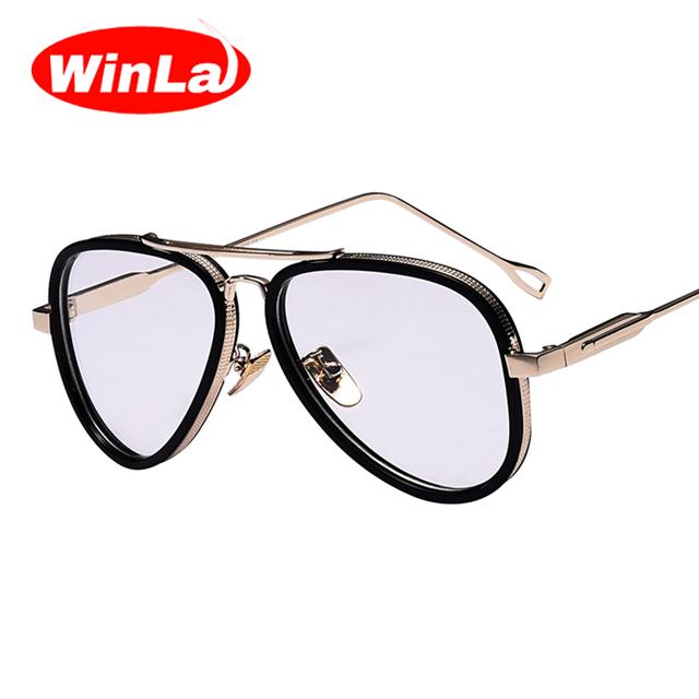Winla Nova Moda Lente Clara e Transparente para As Mulheres Eyewears óculos de Armação de Metal Clássico Estilo Vintage Optical Óculos Quadro Feminino