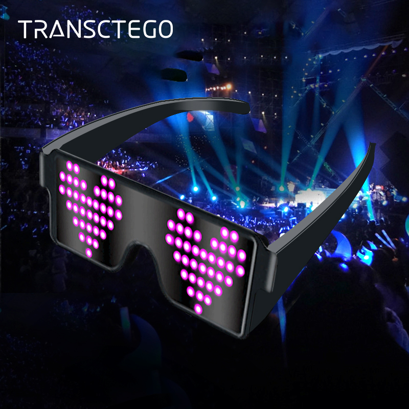 LED Eyeglasses Light For Party Lamp Novelty Light Flashing Glowing Multicolor 8 Mode Glasses Christmas Holiday Gift Night Light