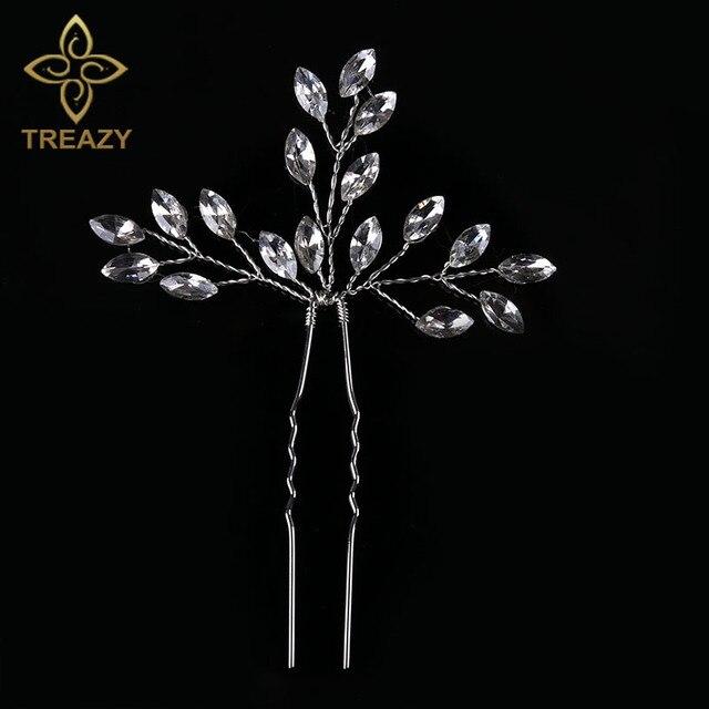 TREAZY Bridal Wedding Crystal Leaf Flower Hair Pin Silver Color Hair Clip Handma