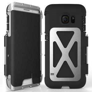 Image 1 - R Nur Eisen Männer Flip Telefon Fall Shock Proof Mode Stahl Metall Rüstung Fall für Samsung S9 S8 Plus s6 S7 Rand Hinweis 9 8 5 4 3 2