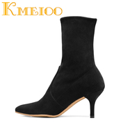 Kmeioo Ankle Boots For Women 2018 Winter Ladies S Faux Suede 6.5CM Kitten Heel Shoes Black Red Pointed Toe US Size 5 15