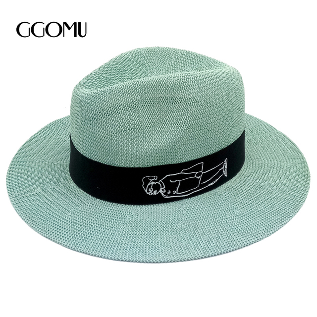 New Summer Cartoon Wide Brim Sun Hats for women men Solid Color Cotton  Knitted girls beach hat Men s Casual Jazz Hats 67769b0548c