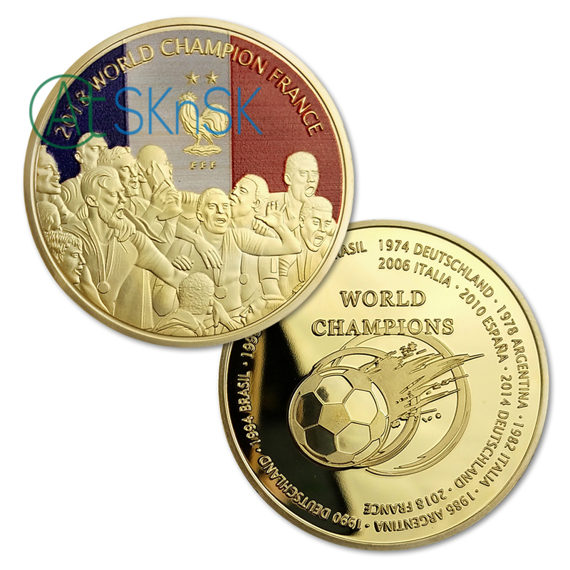 1-10Pcs 2018 France World Champion Challenge Coins Gold Plated Commemorative Coins Collection of Souvenirs Coins1-10Pcs 2018 France World Champion Challenge Coins Gold Plated Commemorative Coins Collection of Souvenirs Coins
