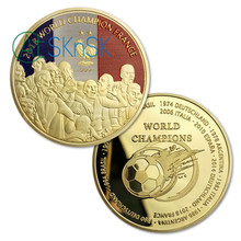 1-10Pcs 2018 France World Champion Challenge Coins Gold Plated Commemorative Coins Collection of Souvenirs Coins(China)