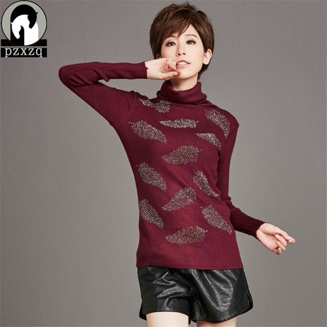 2017 Korean Autumn elastic warm Sweaters for Woman Pull Femme Slim  Turtleneck Long Sleeve Leaf Diamonds print Pullovers