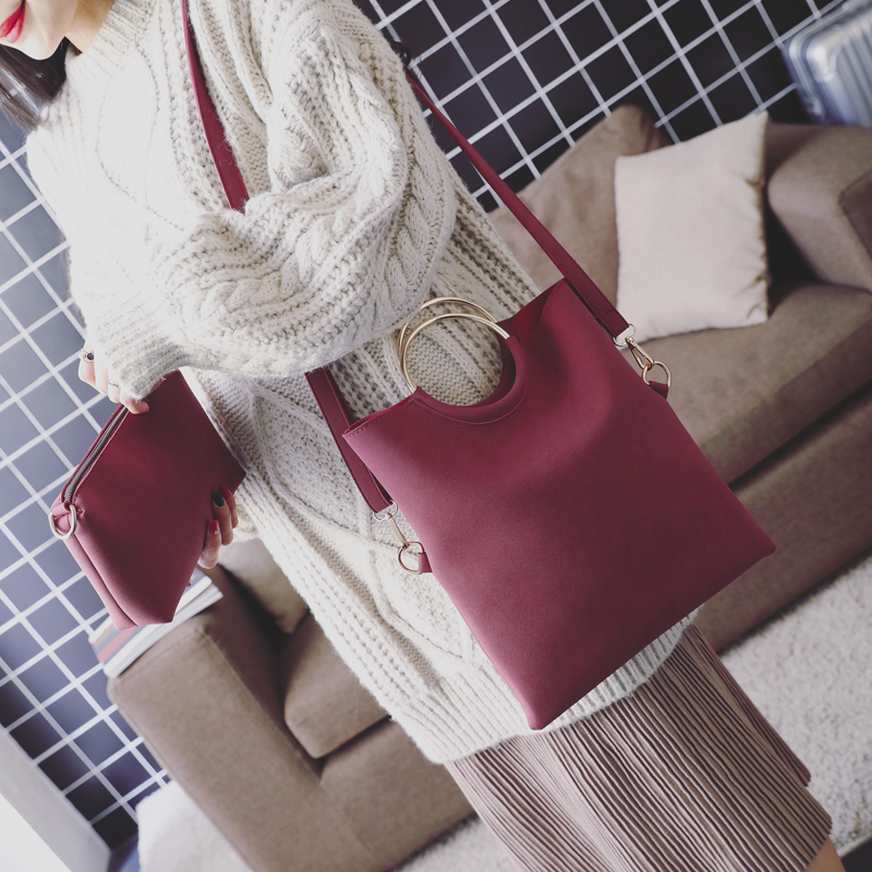 Casual Women Tote Bag 2 Pcs Set Folding Envelope Clutches Faux Suede Shoulder Bag Lady Hand Bag Black Red Shopper Handbag Purses 1
