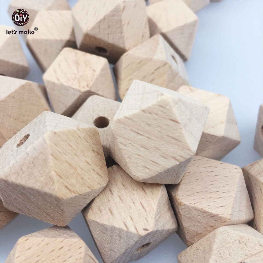Let's Make Baby Teether Accessories Unfinished Hexagon Beads 20MM Natural Wooden 25pc Beech Teether Toys DIY Teething Necklace