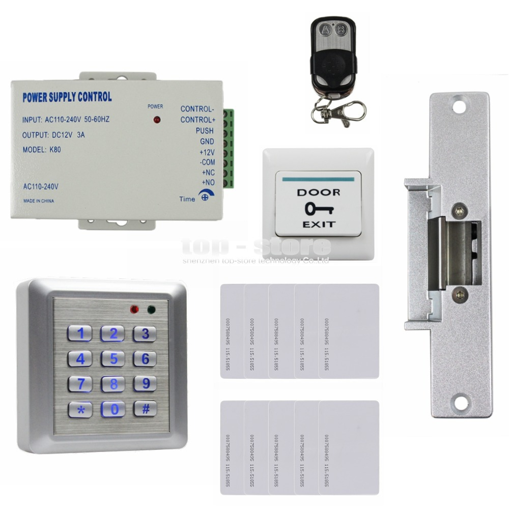 DIYSECUR 125KHz RFID Reader Password Keypad Door Access Control Security System Strike Lock Door Lock Remote Control Kit W4 diysecur 125khz rfid metal case keypad door access control security system kit electric strike lock power supply 7612