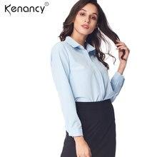 5f42d10c85d Kenancy 2XL Плюс Размер однотонная блузка с длинным рукавом OL специальный  боковой Дизайн Женские топы и блузки офисные блузки у.