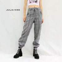 Women Chain Detail Tapered Leg Pants Plaid Pants