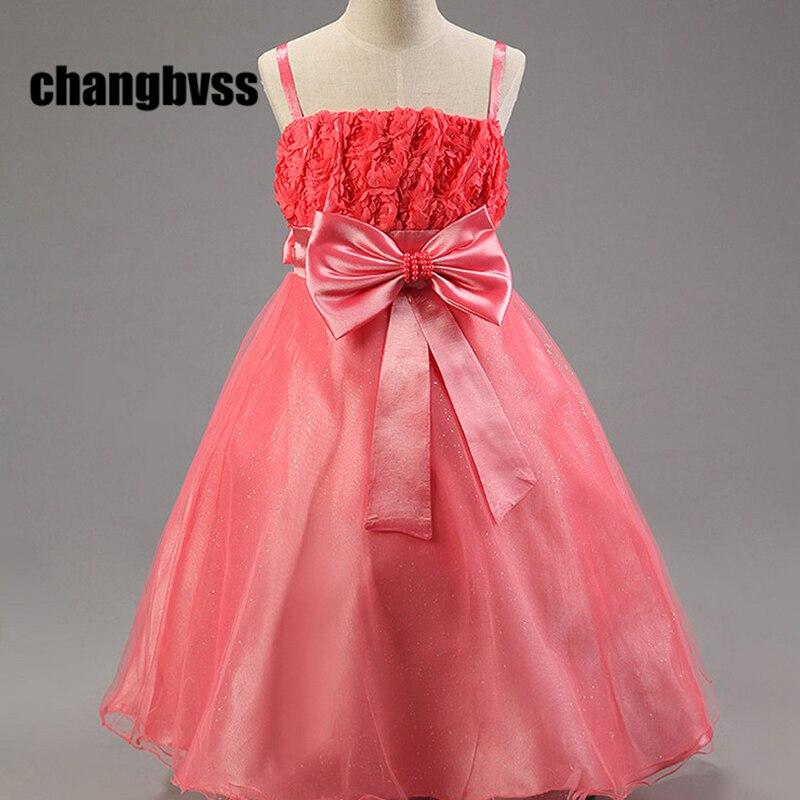 ФОТО 2016 Summer Girl 2-12T Sleeveless Sling Bow Dress Ball Gown,Kids Dresses For Girls,Wedding Princess Flower Dress,Rose Dresses