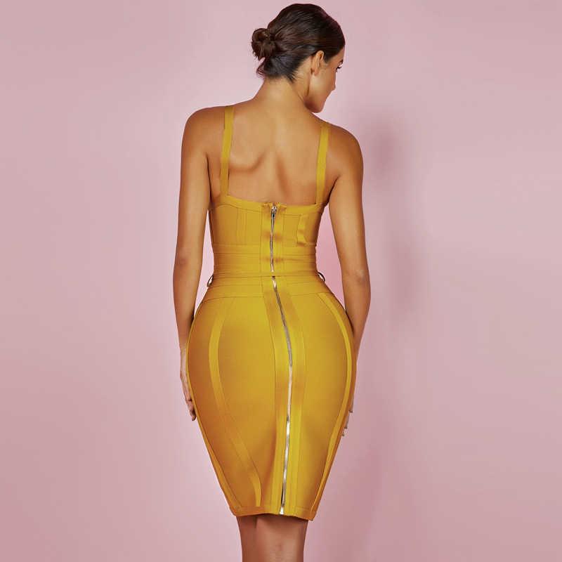 Олень леди 2019 Бандажное платье Новые поступления летние желтые Bodycon Платье V образным вырезом Спагетти ремень осень Бандажное платье Вечерние Для женщин