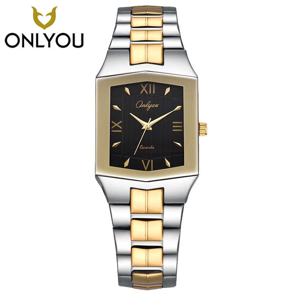 2017 ONLYOU Relogio Feminino Quartz Merk Lady Horloges Vrouwen Luxe Gouden Antieke Vierkante rvs Rome party horloges-in Geliefdes Horloges van Horloges op  Groep 1