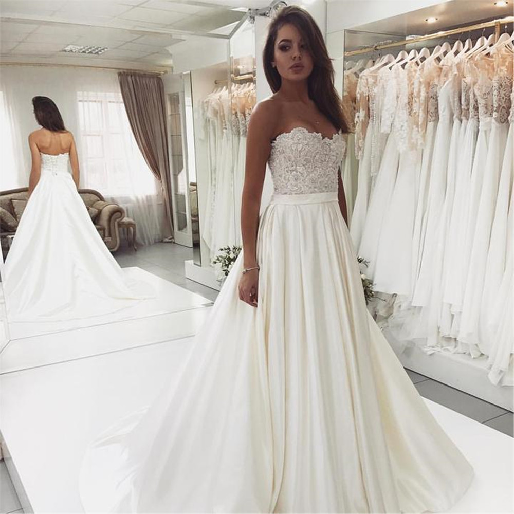 Discount Wedding Gowns: 2019 Princess Wedding Dresses Strapless Lace Satin Floor