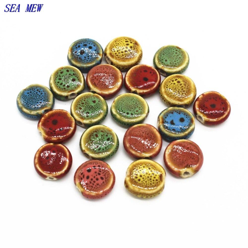 Ceramic Bead Beads: SEA MEW 14mm Round Glaze Ceramic Flat Bead Spacer Beads