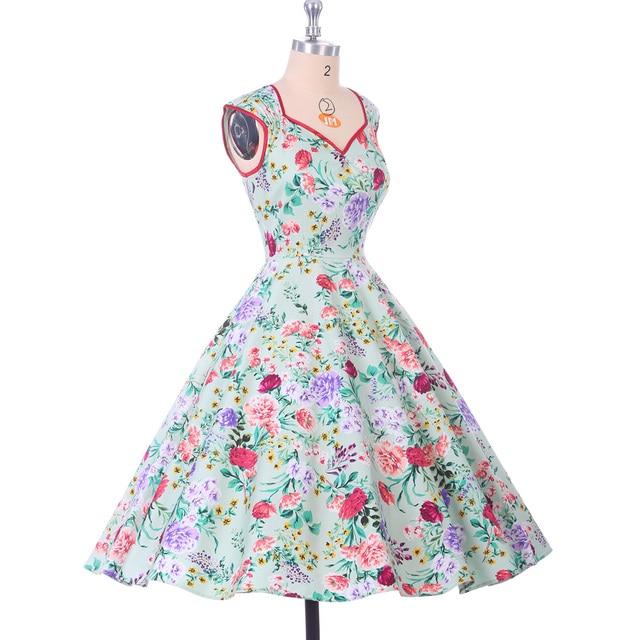 Floral Print Women Dress 2017 Summer Casual plus size Pinup clothing vestidos robe Retro 50s Vintage Swing Rockabilly Dresses