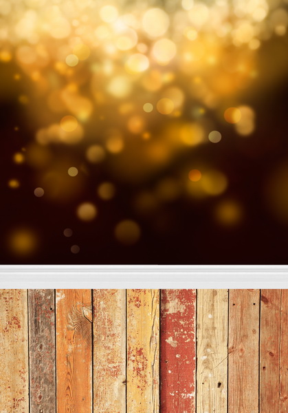8 ft x 10 ft Golden vinyl photography backdrops fabric printing bokeh style photo studio background F-412