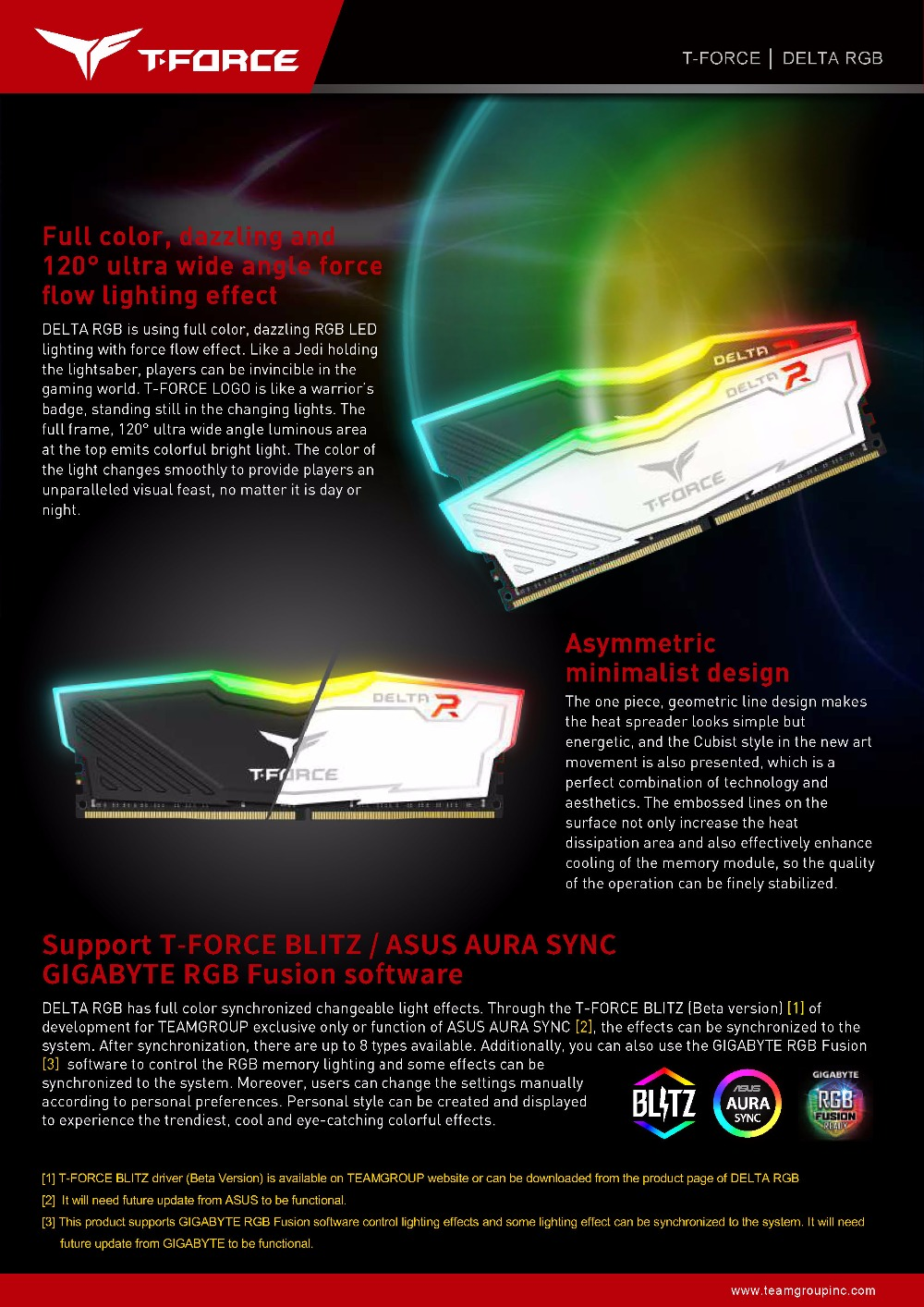 Team Group DELTA RGB series DDR4 Desktop memory 8G computer