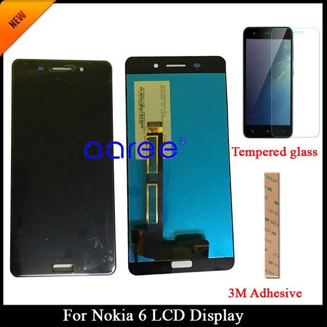 100% נבדק כיתה AAA LCD תצוגה עבור Nokia 6 עבור Nokia 6 LCD מסך מגע Digitizer עצרת + מזג זכוכית