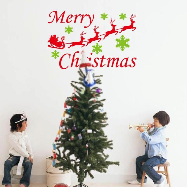 2015 vinyl merry christmas wall stickers home decoration reindeer wall decals christmas ornament 3d vinyl wall