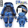 Chegam novas de Varejo de moda bebê romper para o algodão acolchoado inverno um pedaço jumpsuit para crianças à prova de vento muito romper grosso