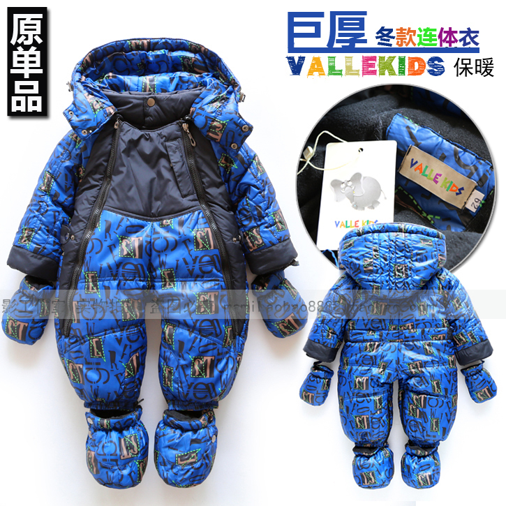 ФОТО New Arrive Retail fashion baby romper for winter cotton padded one piece jumpsuit for children windproof very thick romper
