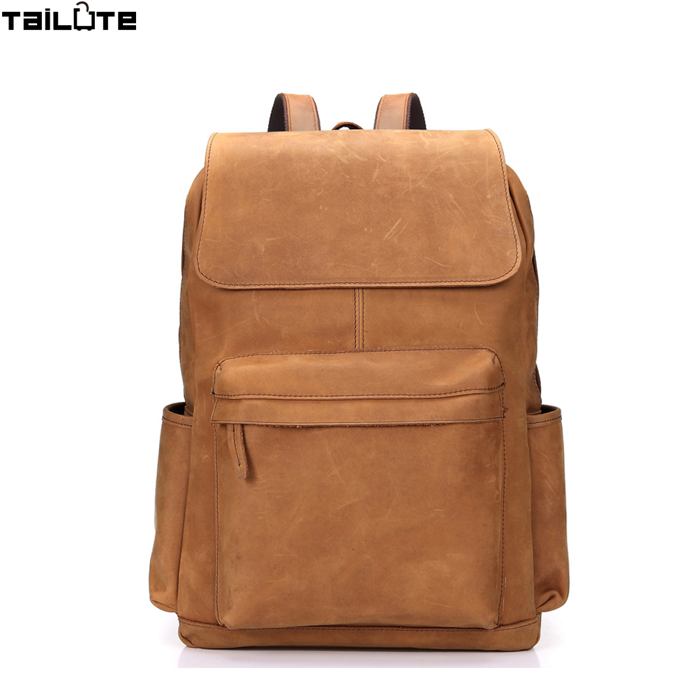 TAILUTE Fashion Man Backpack 100 Genuine Leather Man s Bag high quality Men Shoulder Duffel Bag