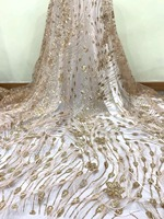2019 High Quality French tulle Lace Fabric feather With sequins Hot Sale African Lace Fabric For Wedding Dress