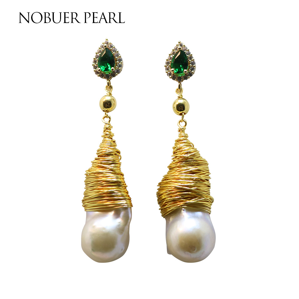 Nobuer New Design Trendy 14KGF Handmade Winding Pearl Drop Earrings For Women White Baroque And Green Water Drop Jewelry a suit of chic fake crystal pearl water drop necklace and earrings for women