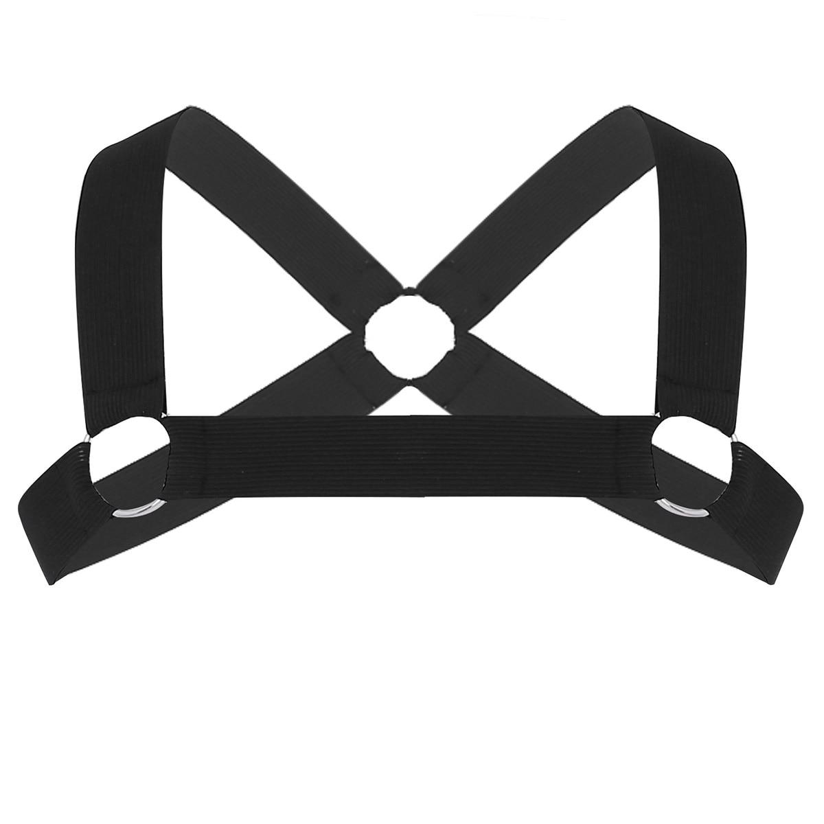 Мужские x-образные ремни на спине, мужские эластичные ремни на плечо, грудь, пояс с о-образными кольцами, Необычные Клубные вечерние костюмы, ремень - Цвет: Black