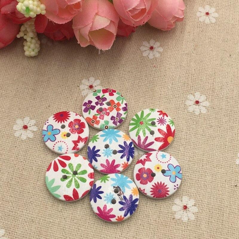 Blanc Fleur Boutons brillant motif floral deux trous petites de forme ronde À faire soi-même 20pcs