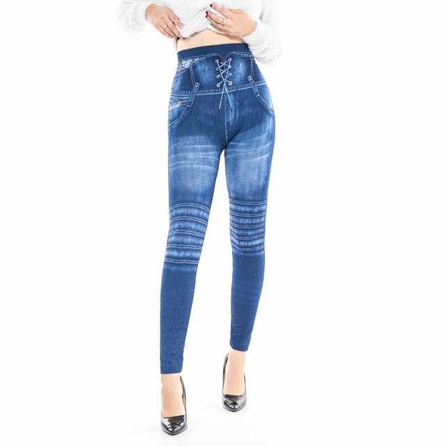 dd2ef92d27e6e Faux Denim Jeans Leggings Blue Striped Print Leggings Women Imitation Jean  Slim Fitness Leggings Elastic Seamless